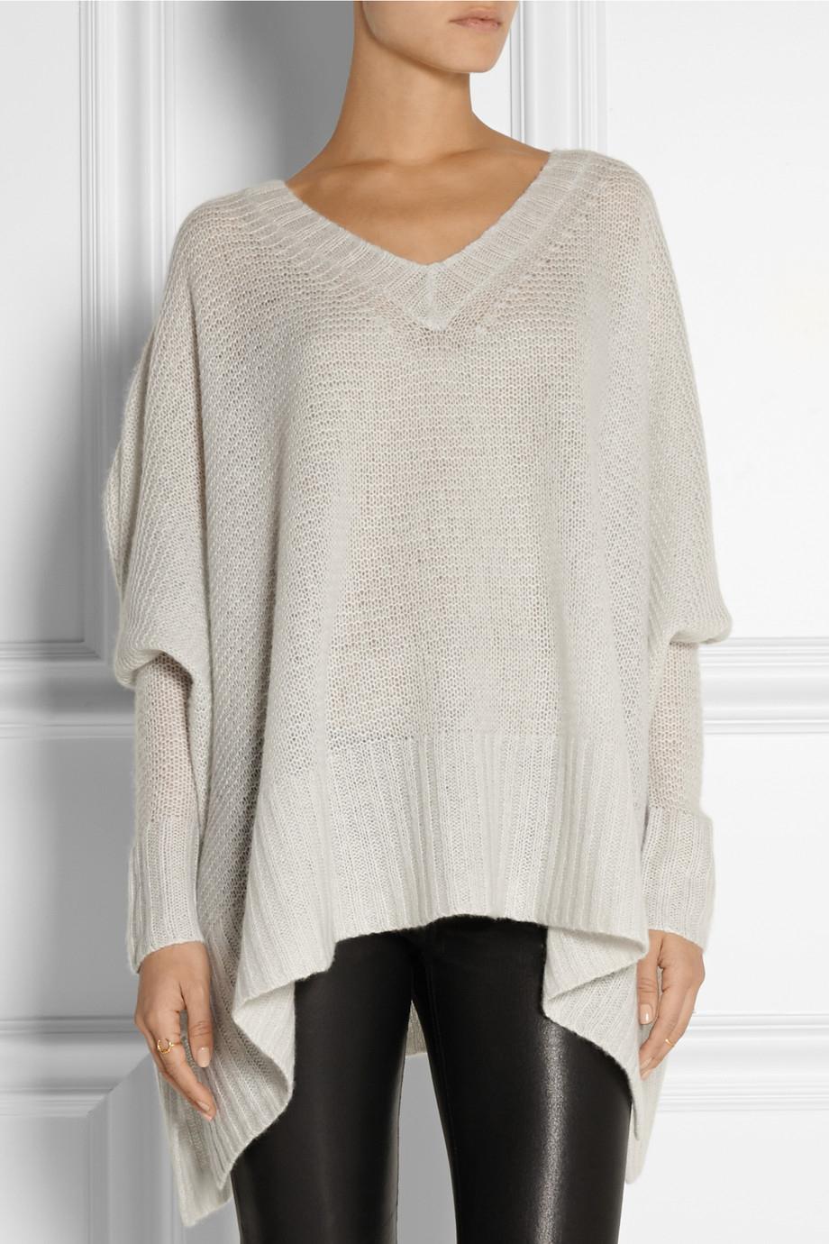 lyst donna karan draped cashmere and silk blend sweater. Black Bedroom Furniture Sets. Home Design Ideas