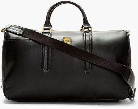 Diesel Black Smooth Leather Vanguarding Duffle Bag In