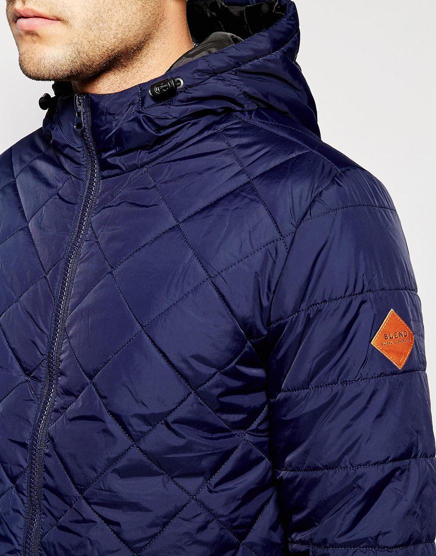 Blend Quilted Hooded Jacket in Blue for Men | Lyst : mens quilted hooded jacket - Adamdwight.com