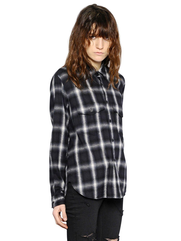 Saint Laurent Plaid Wool Flannel Shirt In Black Lyst