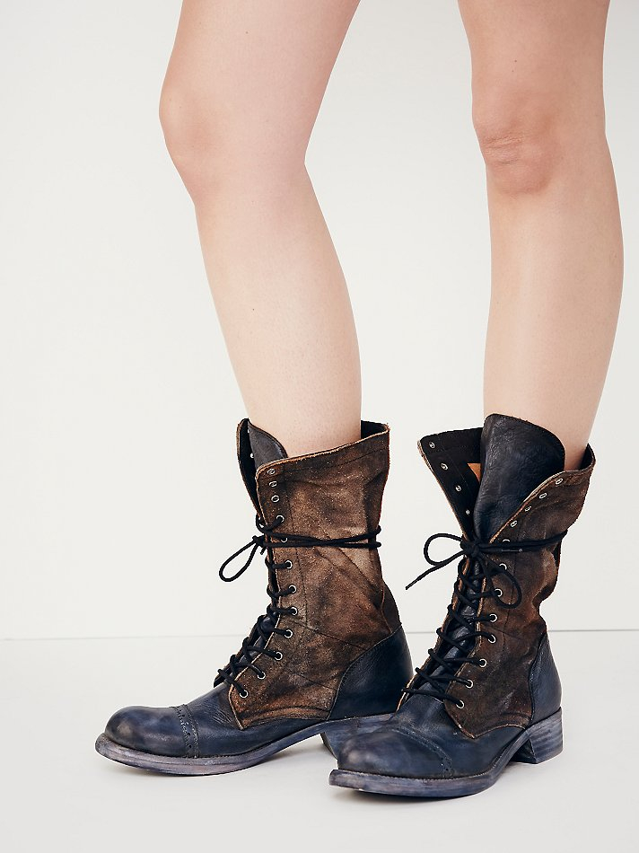 4964a9b3f04c5 Lyst - Free People Traveling Lace Up Boot in Black
