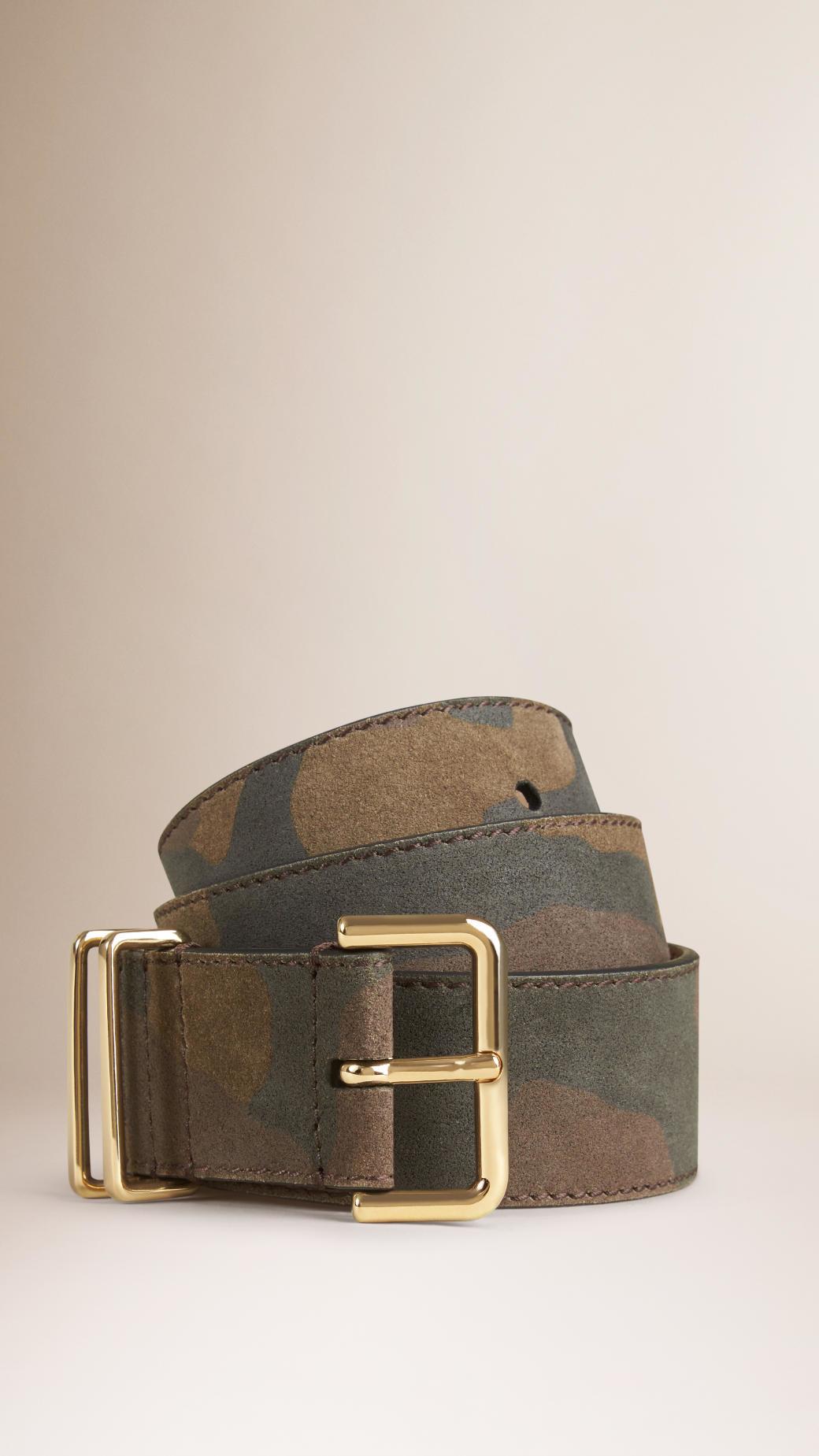 971ebf50c2c ... order lyst burberry camo print calfskin belt in green 35687 569f0