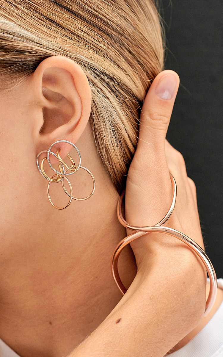 Charlotte Chesnais Galilea Silver, Gold And Rose Gold Vermeil Earrings