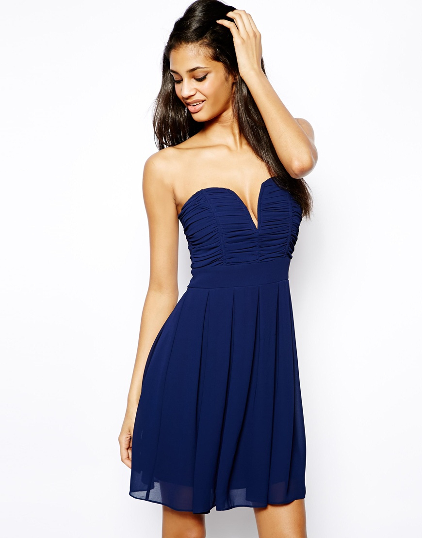 82bec94db7 Lyst - TFNC London Dress With Plunge Bustier in Blue