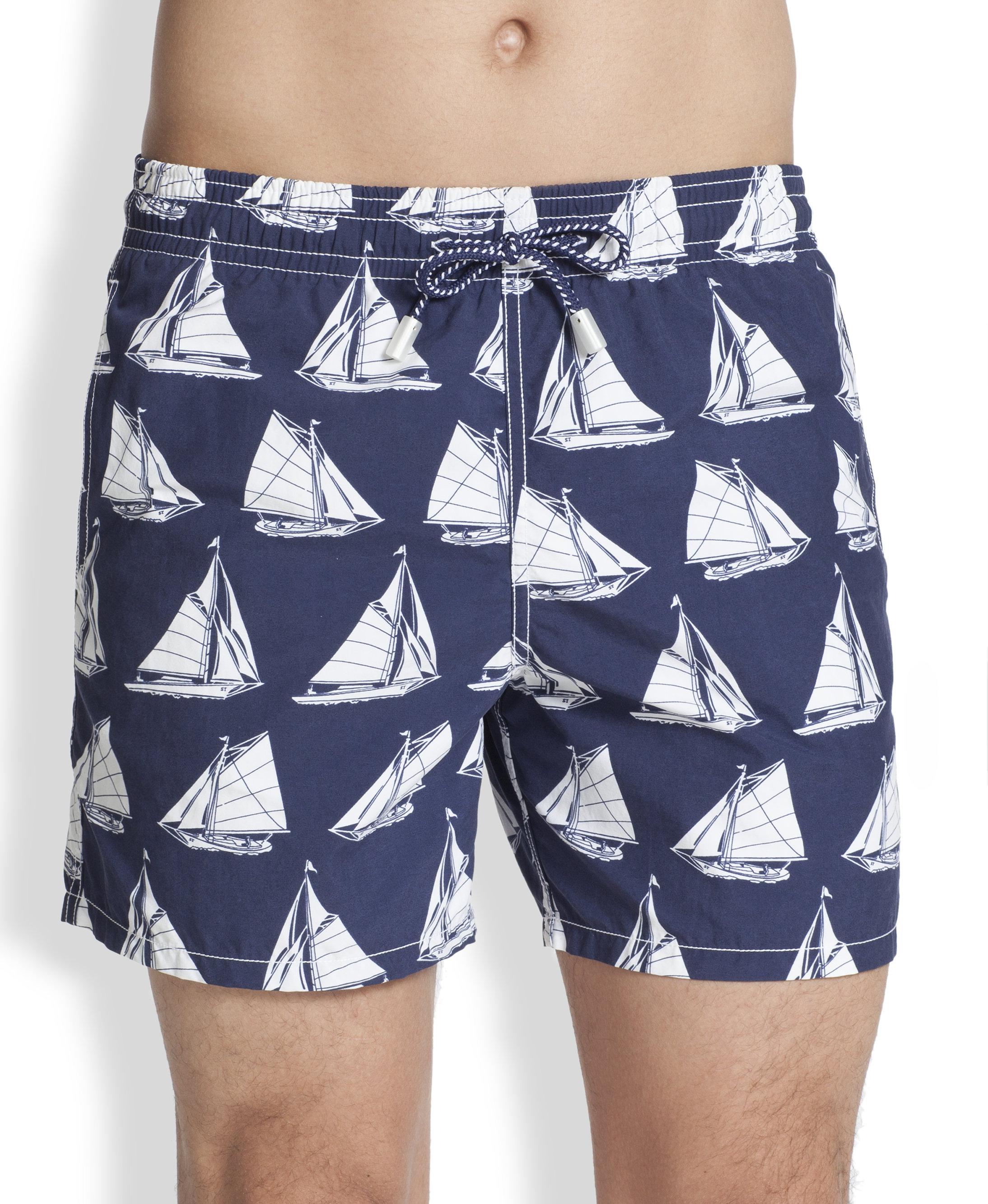 208861fcc6737 ... Blue Swim Trunks For Men: Vilebrequin Morea Navy Printed Swim Shorts In  Blue