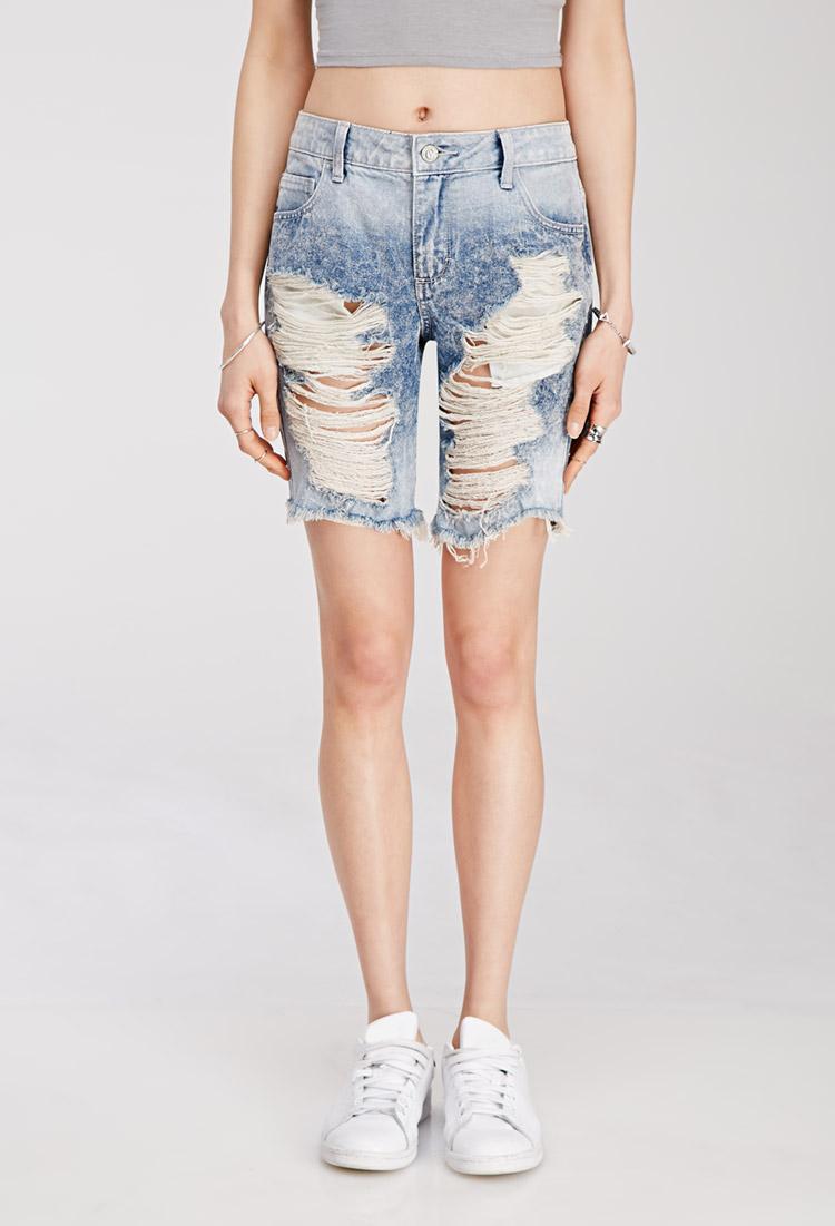 Forever 21 Distressed Denim Bermuda Shorts in Blue | Lyst