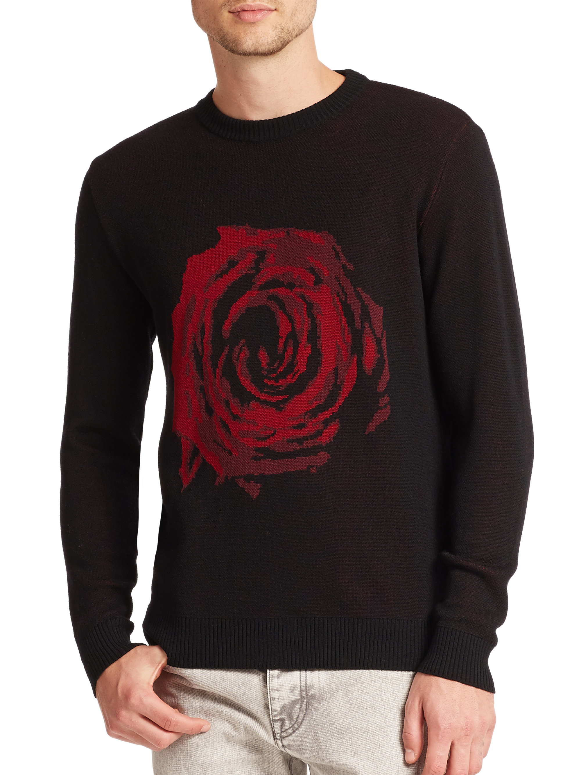 Lyst Ami Rose Wool Jacquard Sweater In Black For Men