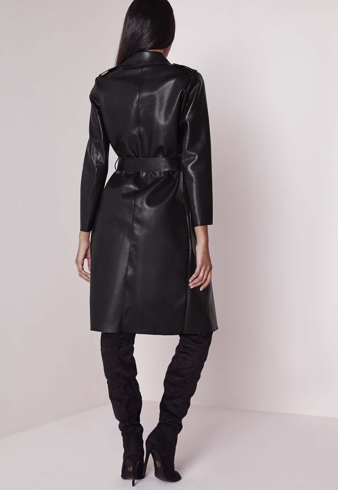 Missguided Peace Love Faux Leather Trench Coat Black Lyst