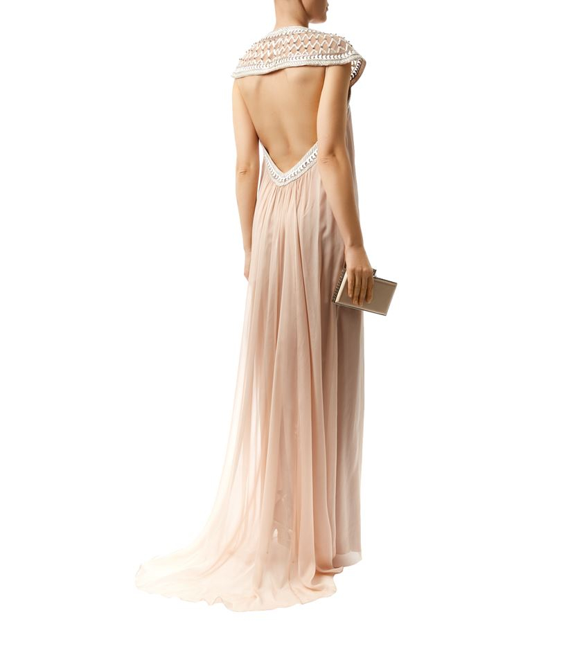 temperley london sand goddess open back gown in brown