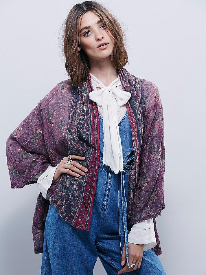 70150a8e176 Free People Fp One Border Print Kimono in Gray - Lyst