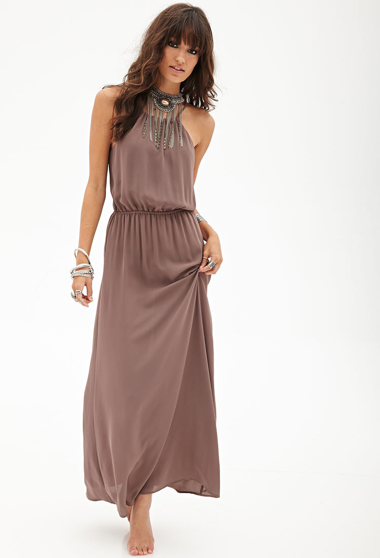 44533689724a Lyst - Forever 21 Cutout Woven Maxi Dress in Brown