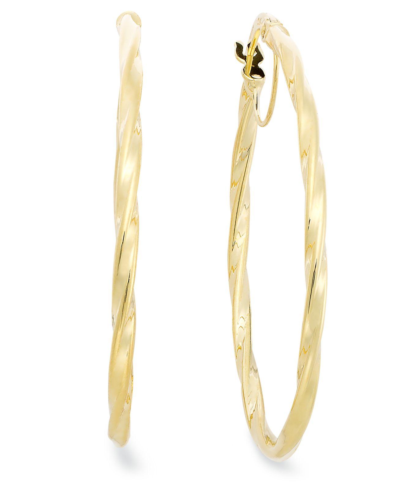 Lyst Macy S 14k Gold Earrings Oval Twist Hoop Earrings In Metallic