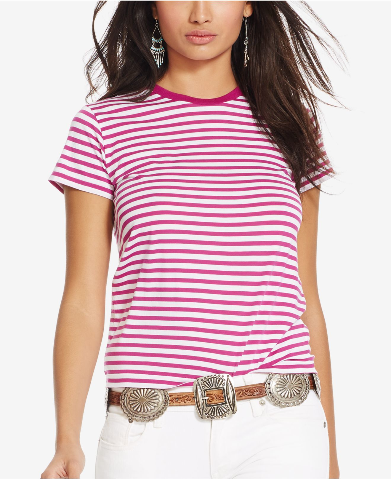 c74ad8e03879d Lyst - Polo Ralph Lauren Striped Crew Neck T-shirt in Red