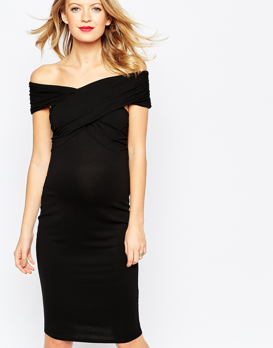 Asos midi bodycon dress with twist off shoulder in black lyst gallery ombrellifo Choice Image