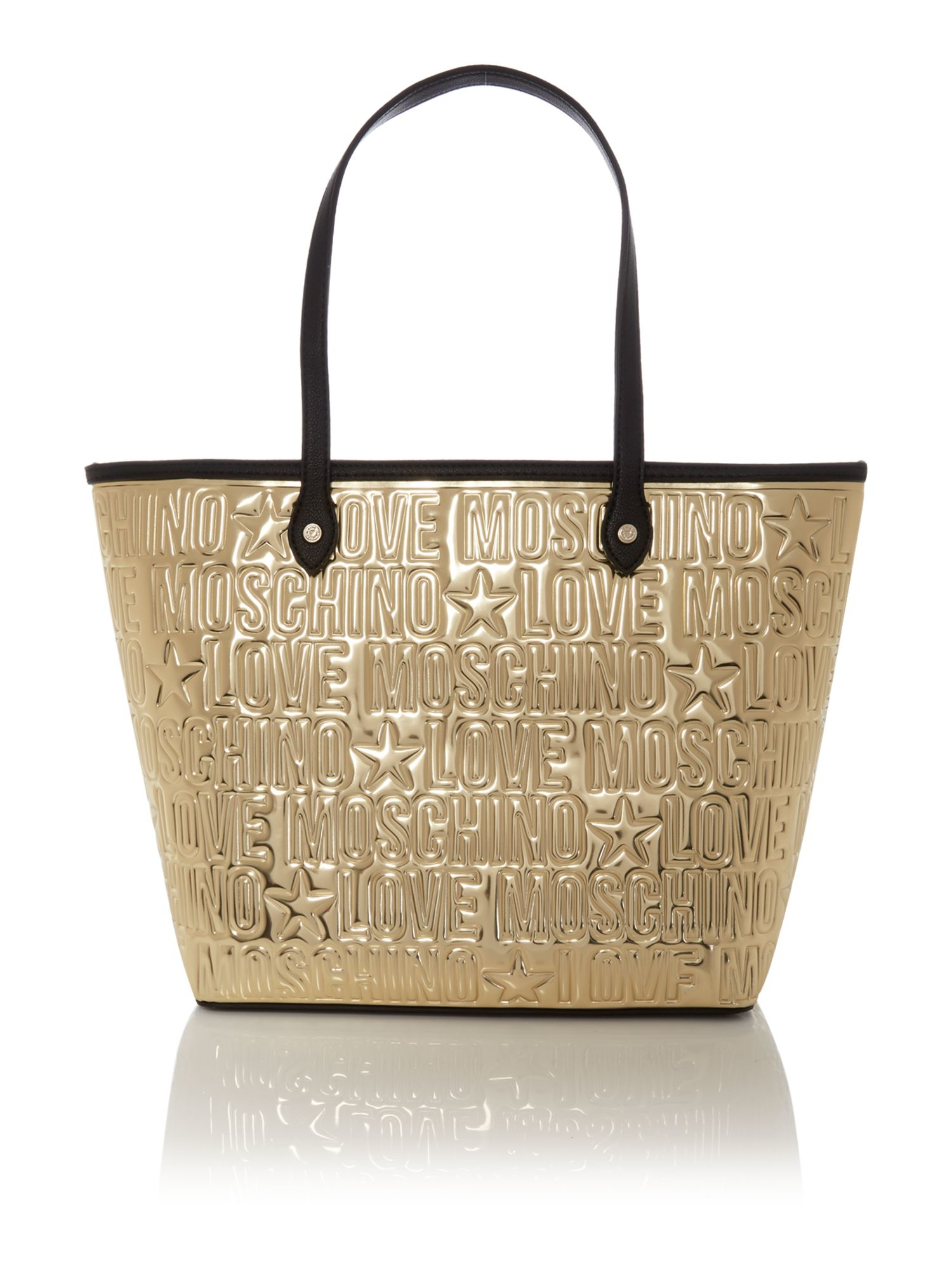 Love moschino Embossed Gold Tote Bag in Metallic | Lyst