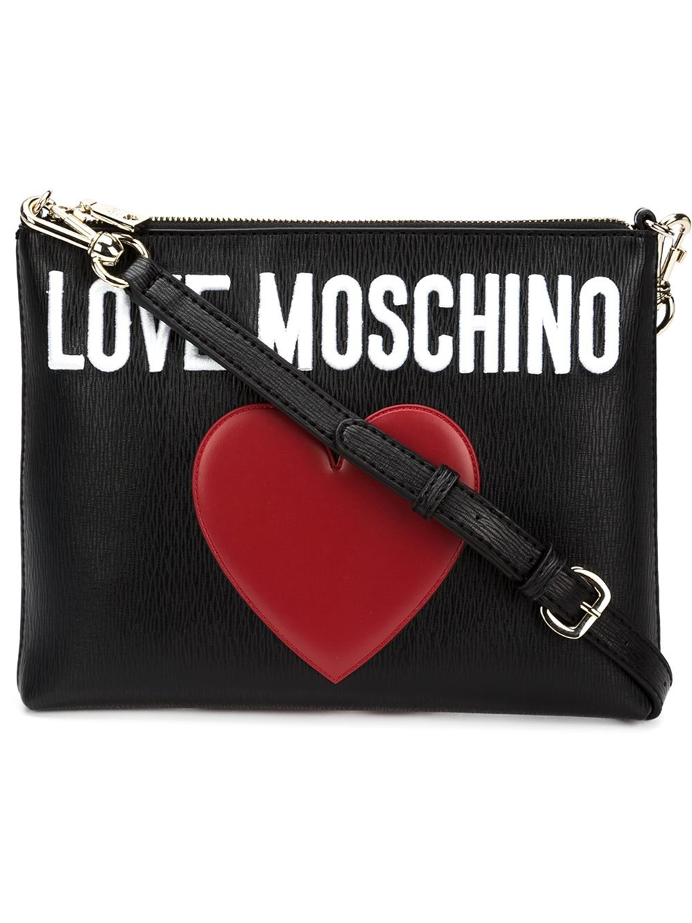 Lyst Love Moschino Stitched Heart Cross Body Bag In Black