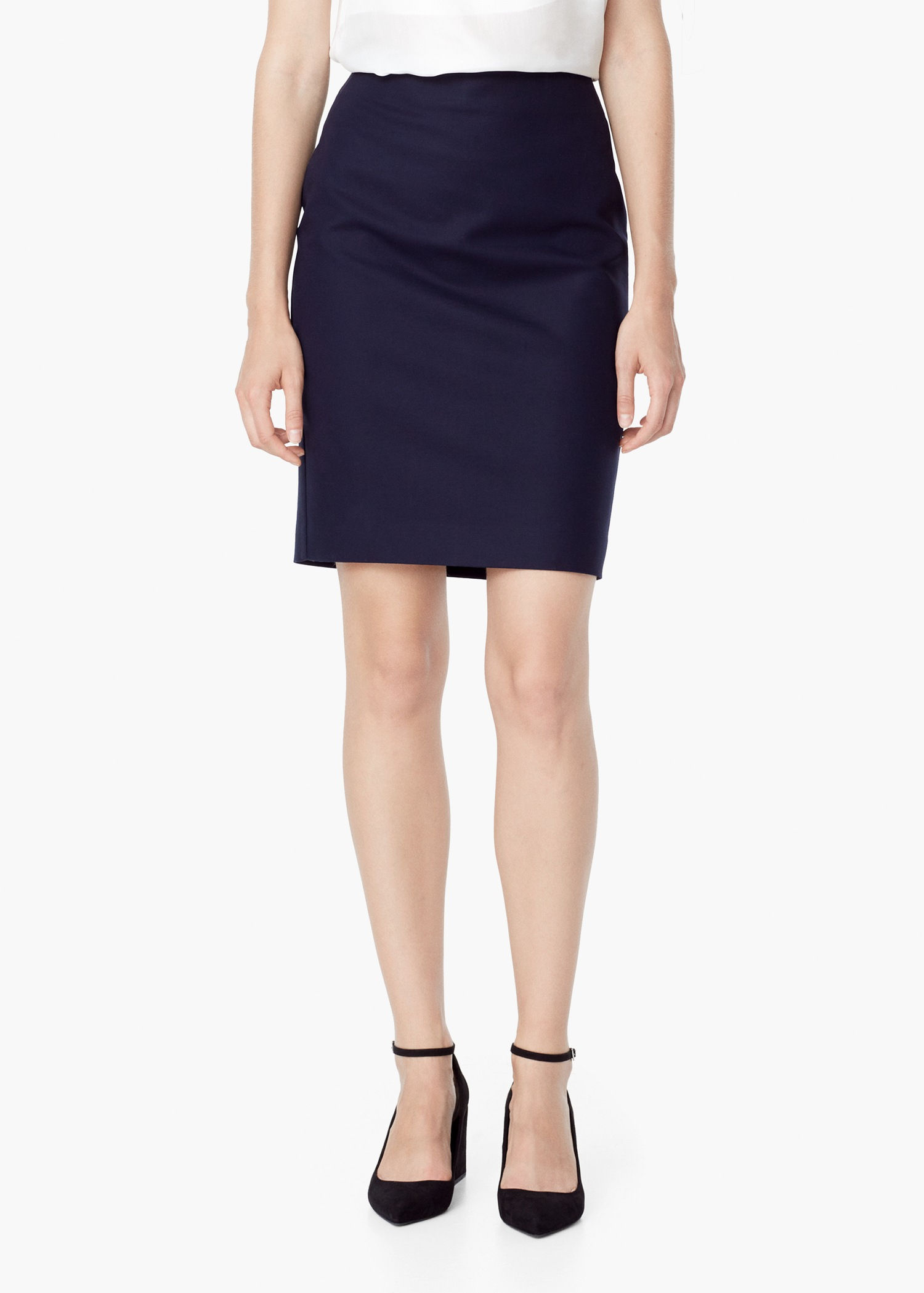 Mango Cotton Pencil Skirt in Blue | Lyst