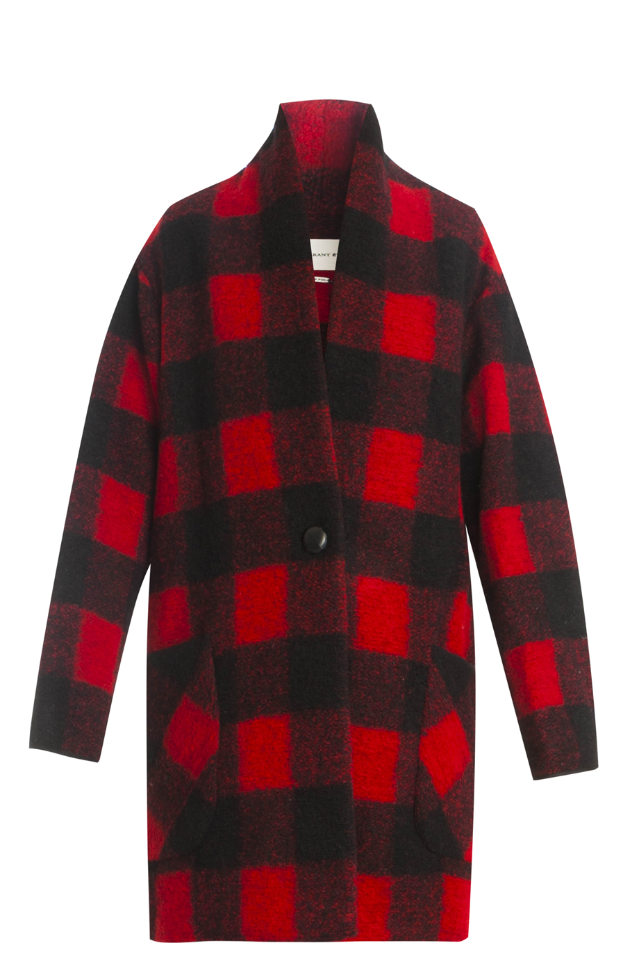 Étoile isabel marant Garbie Check Coat in Red | Lyst