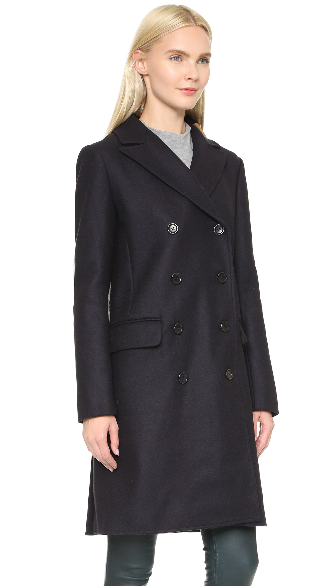 Tibi Car Coat With Shearling - Navy in Blue | Lyst