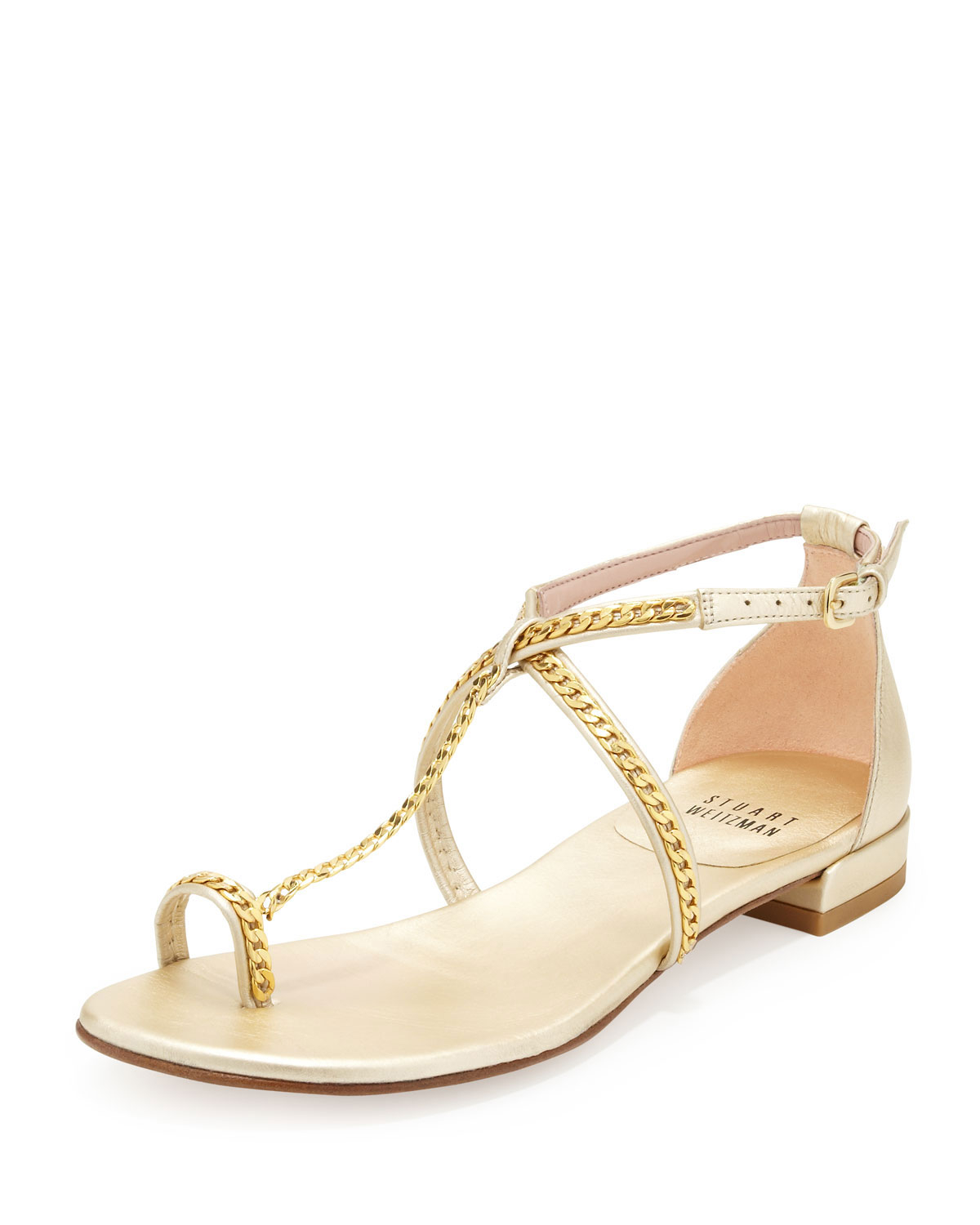 Stuart weitzman Shackle Chainstrap Toering Sandal in White ...
