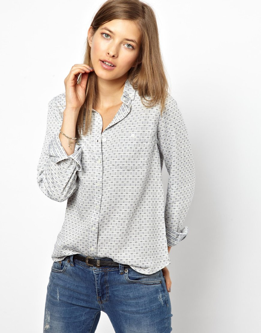 Mih jeans the shrunken button down shirt in gray for Denim button down shirts