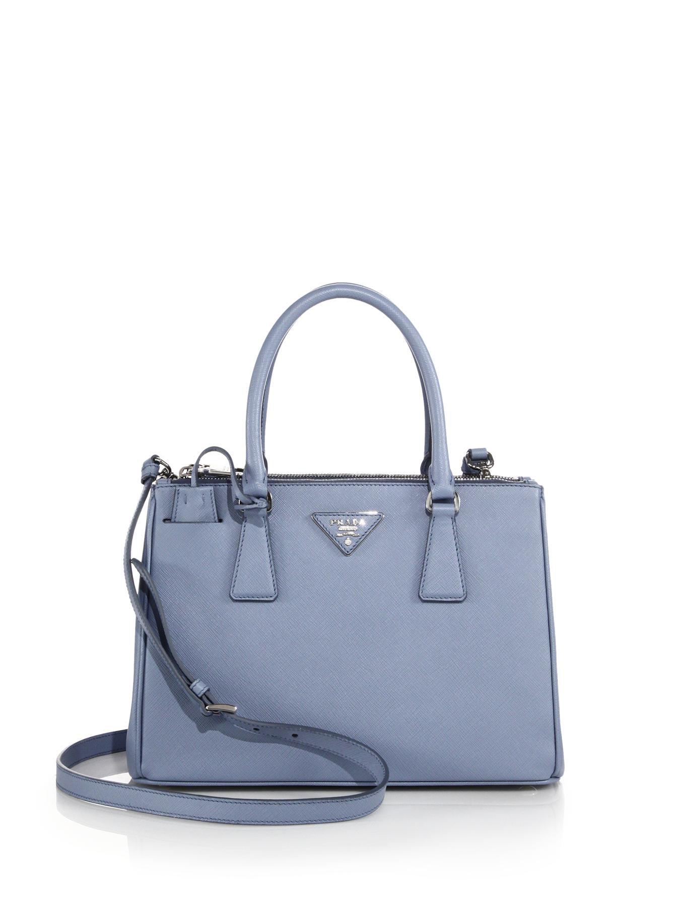 d4dcdf4e209a ... cheap lyst prada saffiano lux small double zip tote in blue e46c6 79704
