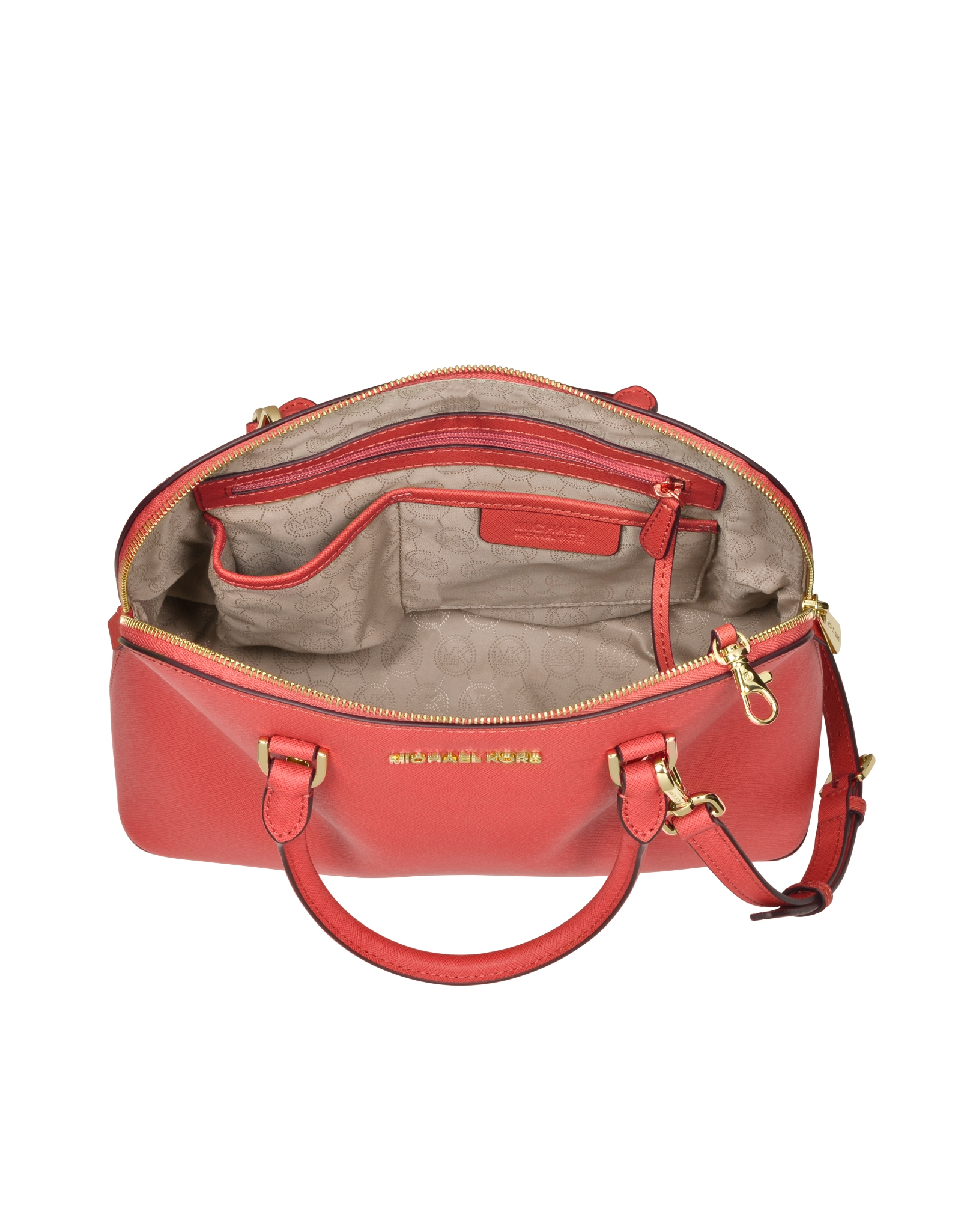 4ca0bfe695d8b9 Michael Kors Cindy Large Saffiano-Leather Satchel in Red - Lyst