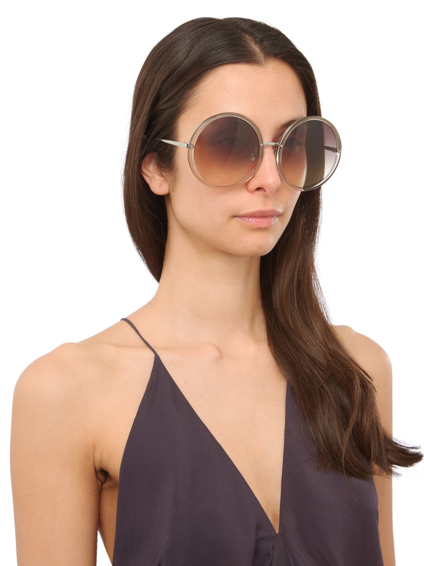 772514d3e3733 Linda Farrow Oversized Round Sunglasses in Natural - Lyst