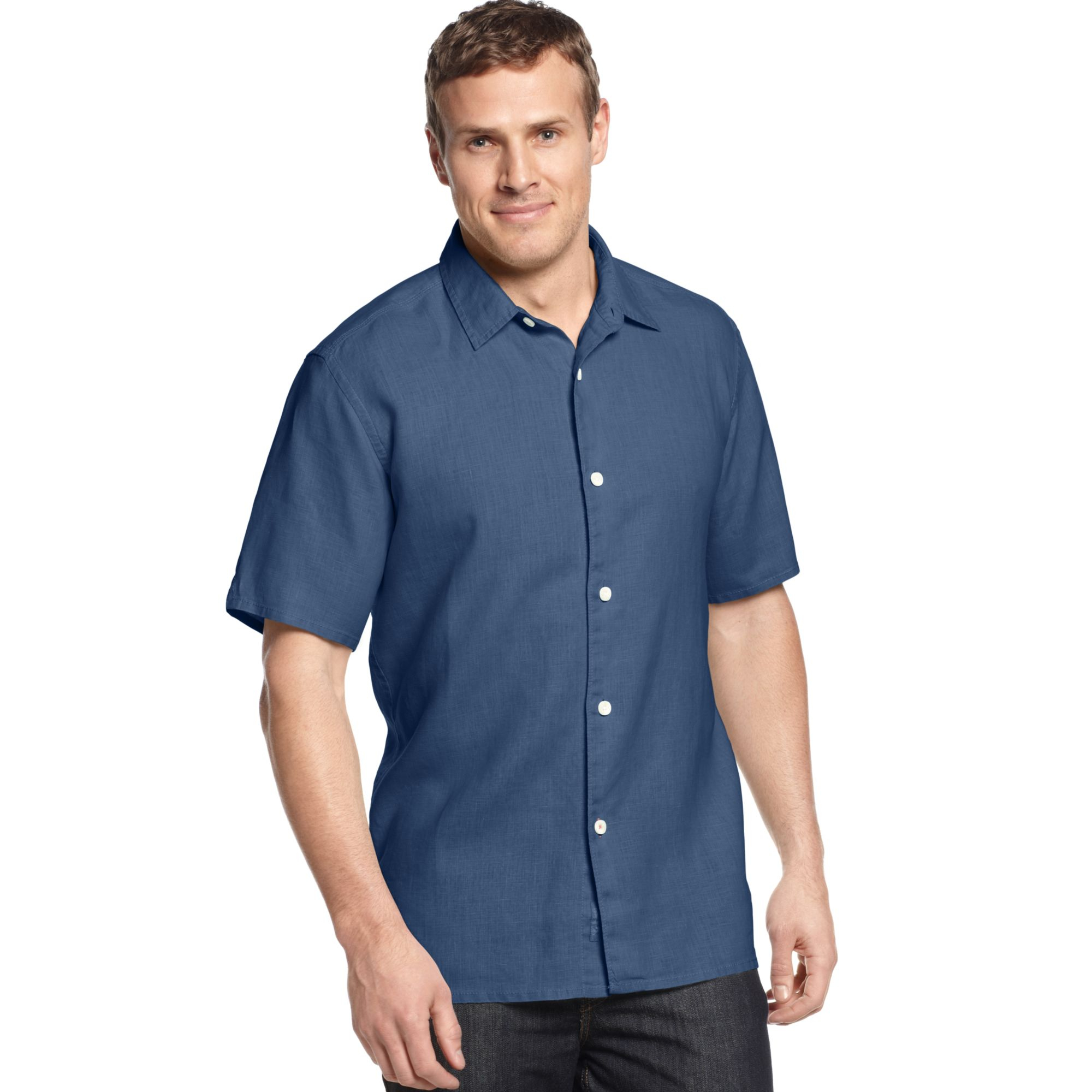 tommy bahama big and tall linen sea glass breezer shirt in