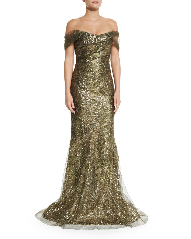 Lyst - Rene Ruiz Off-the-shoulder Metallic Gown in Metallic