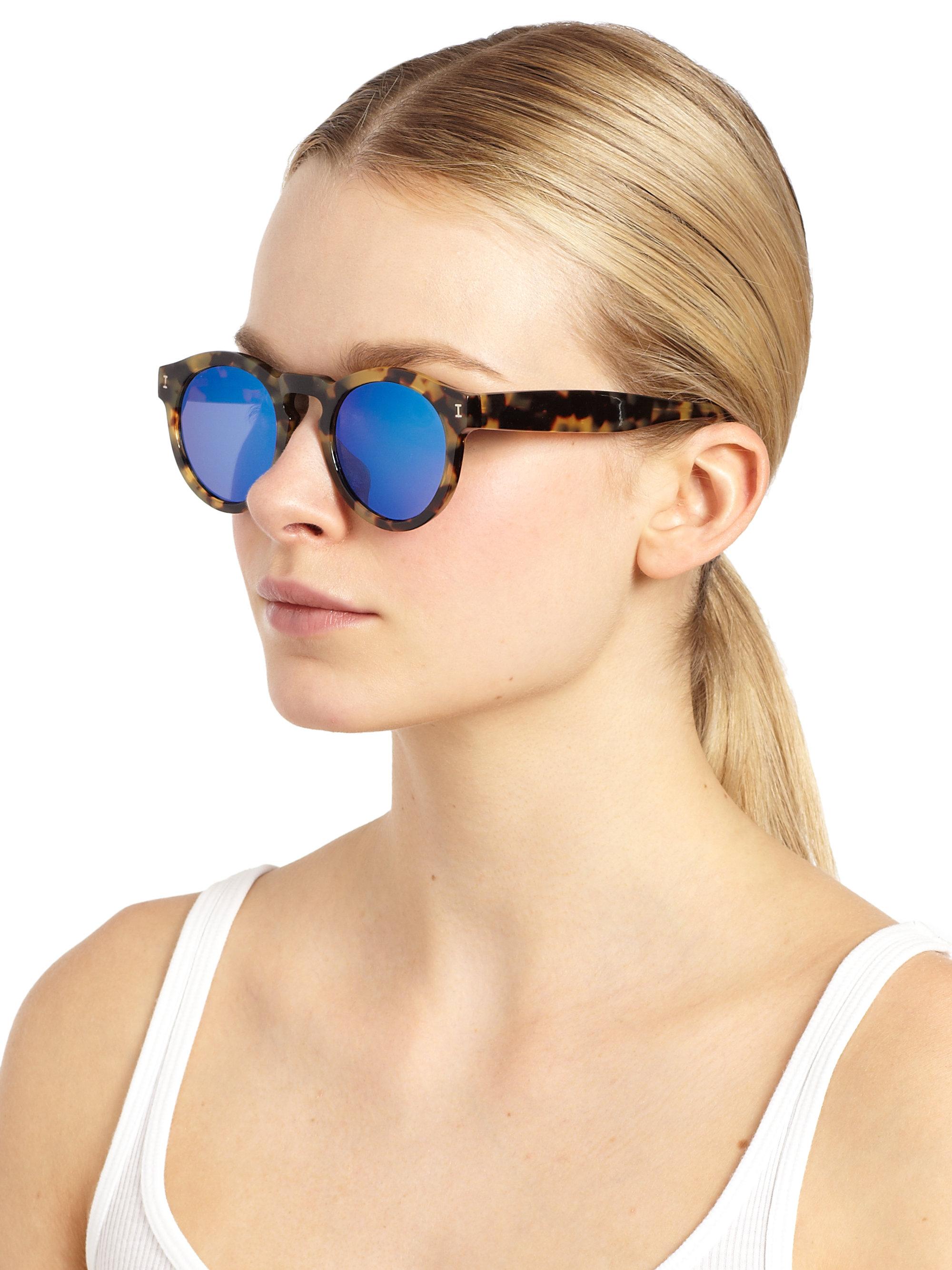 745091c0f06 Illesteva Leonard Tortoise Mirrored 48mm Round Sunglasses in Brown