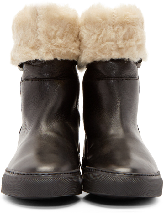 Lyst Common Projects Black Leather Sherpa Boots In Black