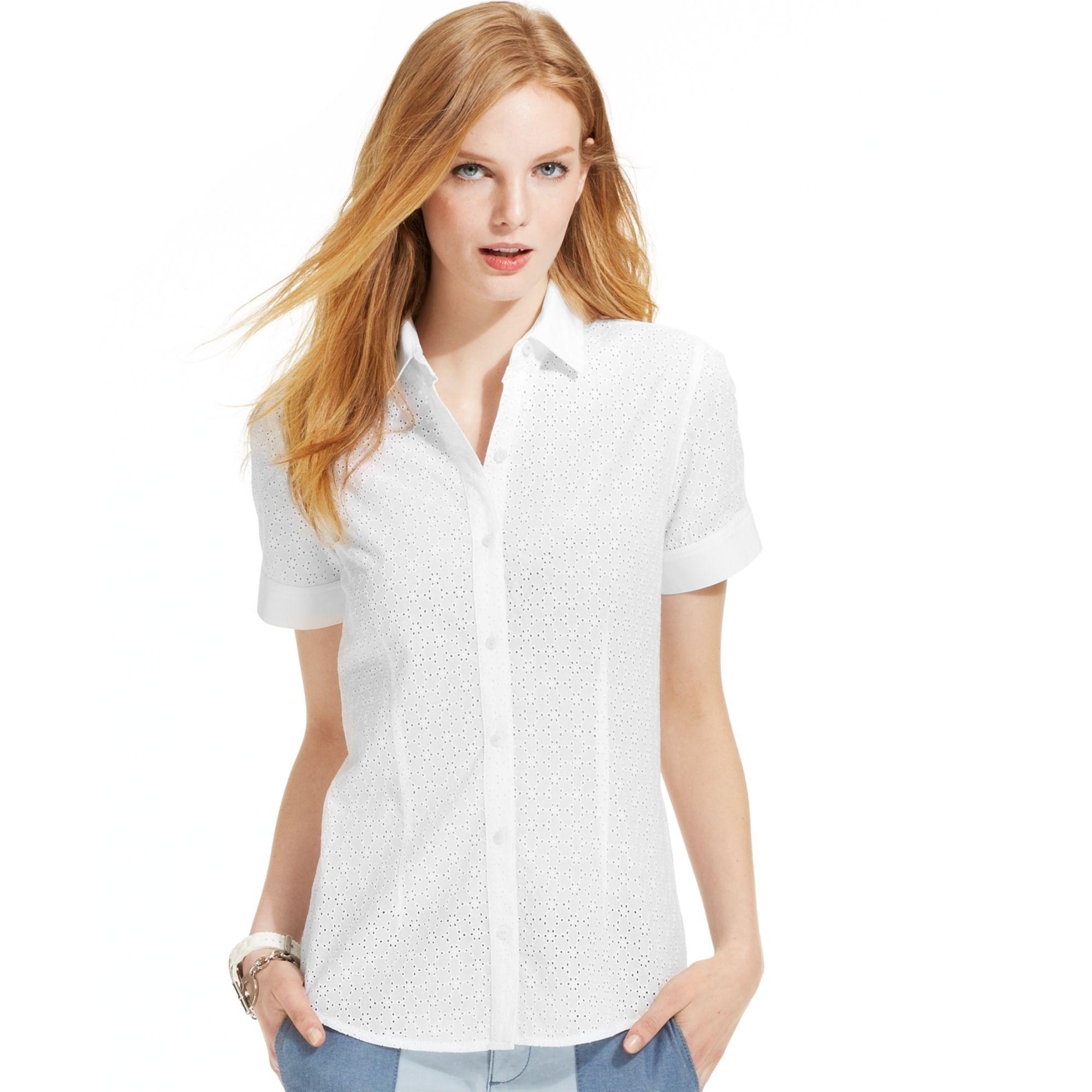 cd55e0d1 White Button Up Short Sleeve Shirt Womens