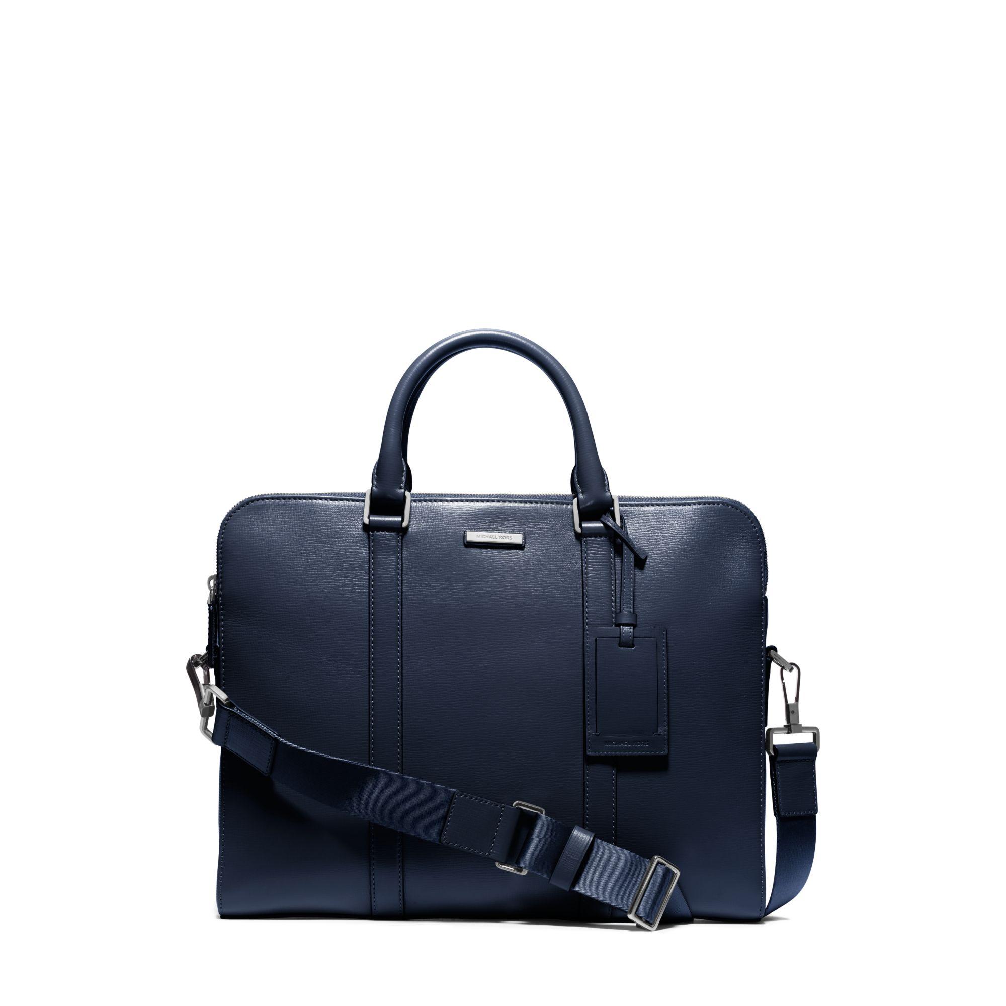 5c202d181 Michael Kors Warren Slim Leather Briefcase in Blue for Men - Lyst