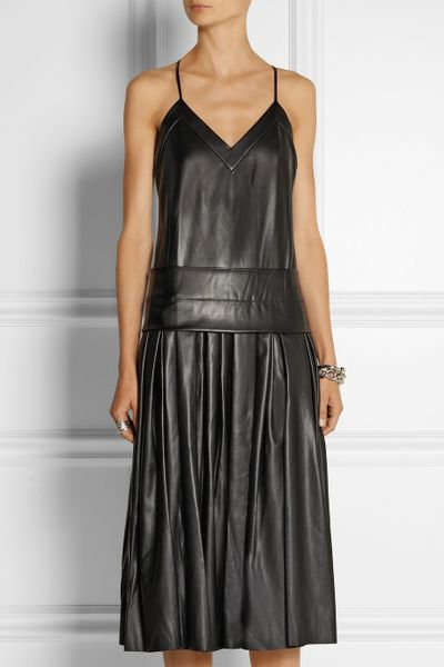 Dkny Drop Waist Faux Leather Midi Dress In Black Lyst
