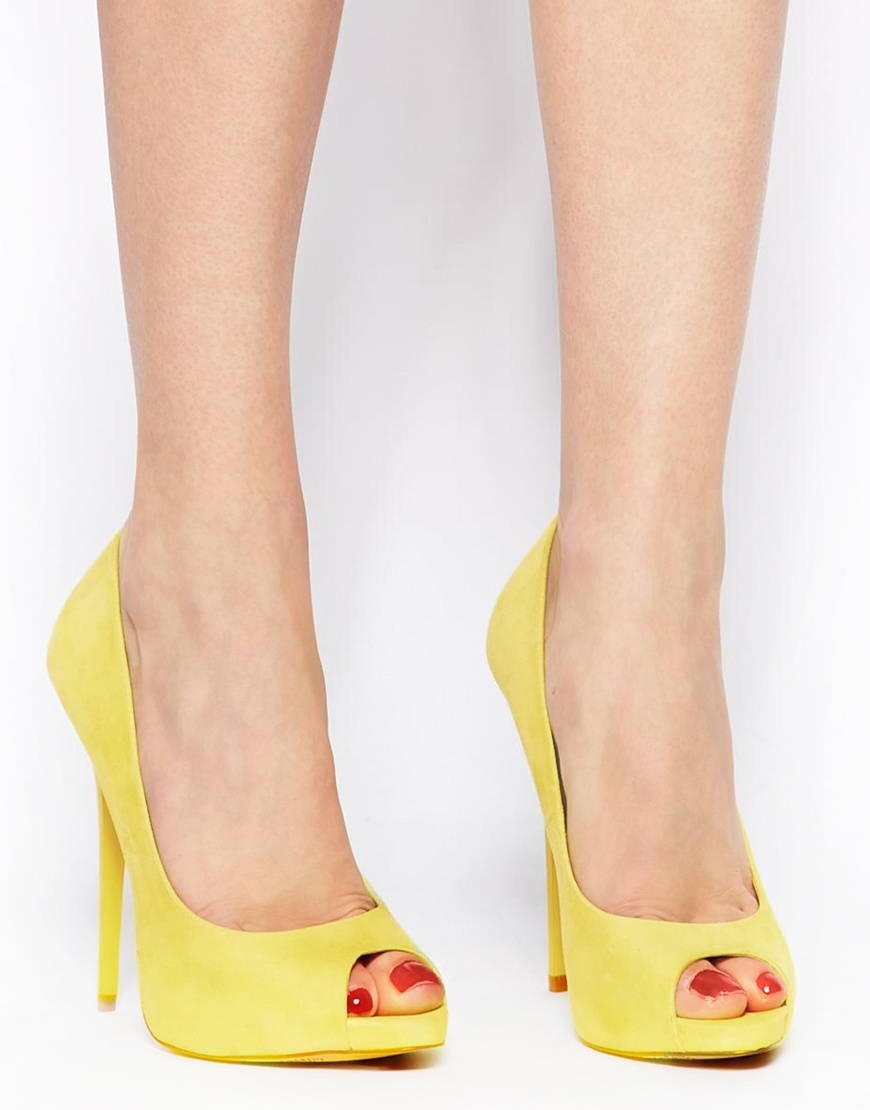 Lyst - Asos Penzance High Heels with Peep Toe in Yellow