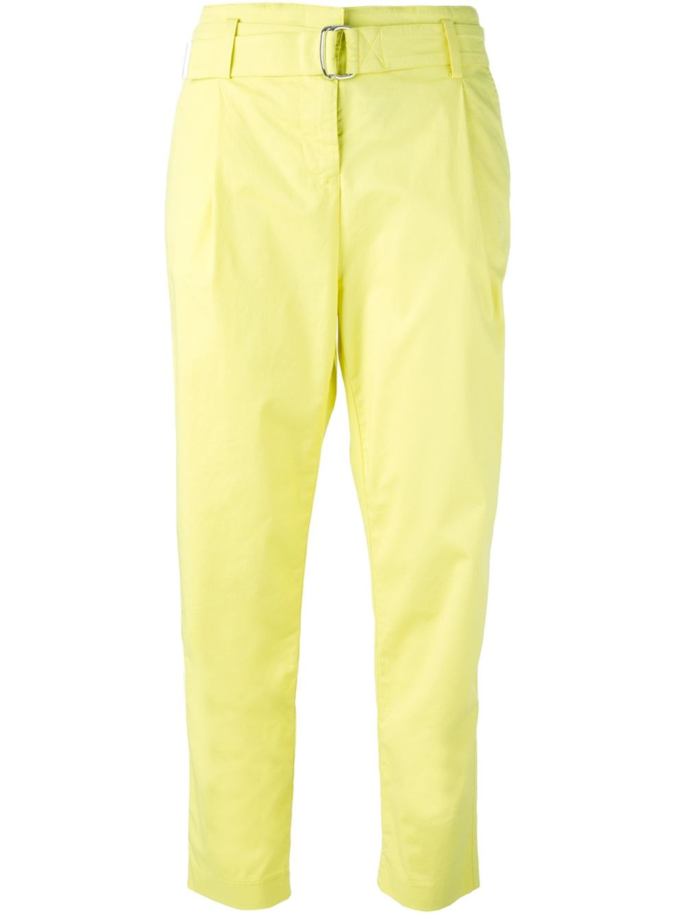 armani jeans tapered cropped trousers in yellow yellow orange lyst. Black Bedroom Furniture Sets. Home Design Ideas