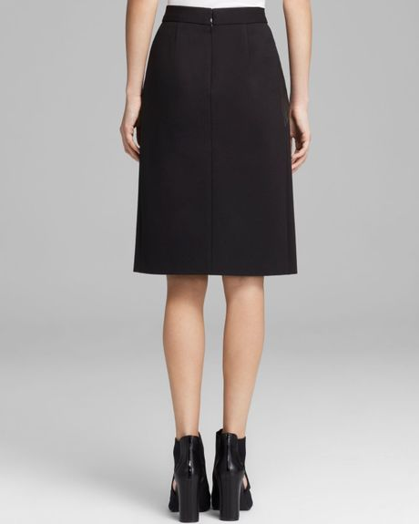 dkny leather front pencil skirt in black black black lyst