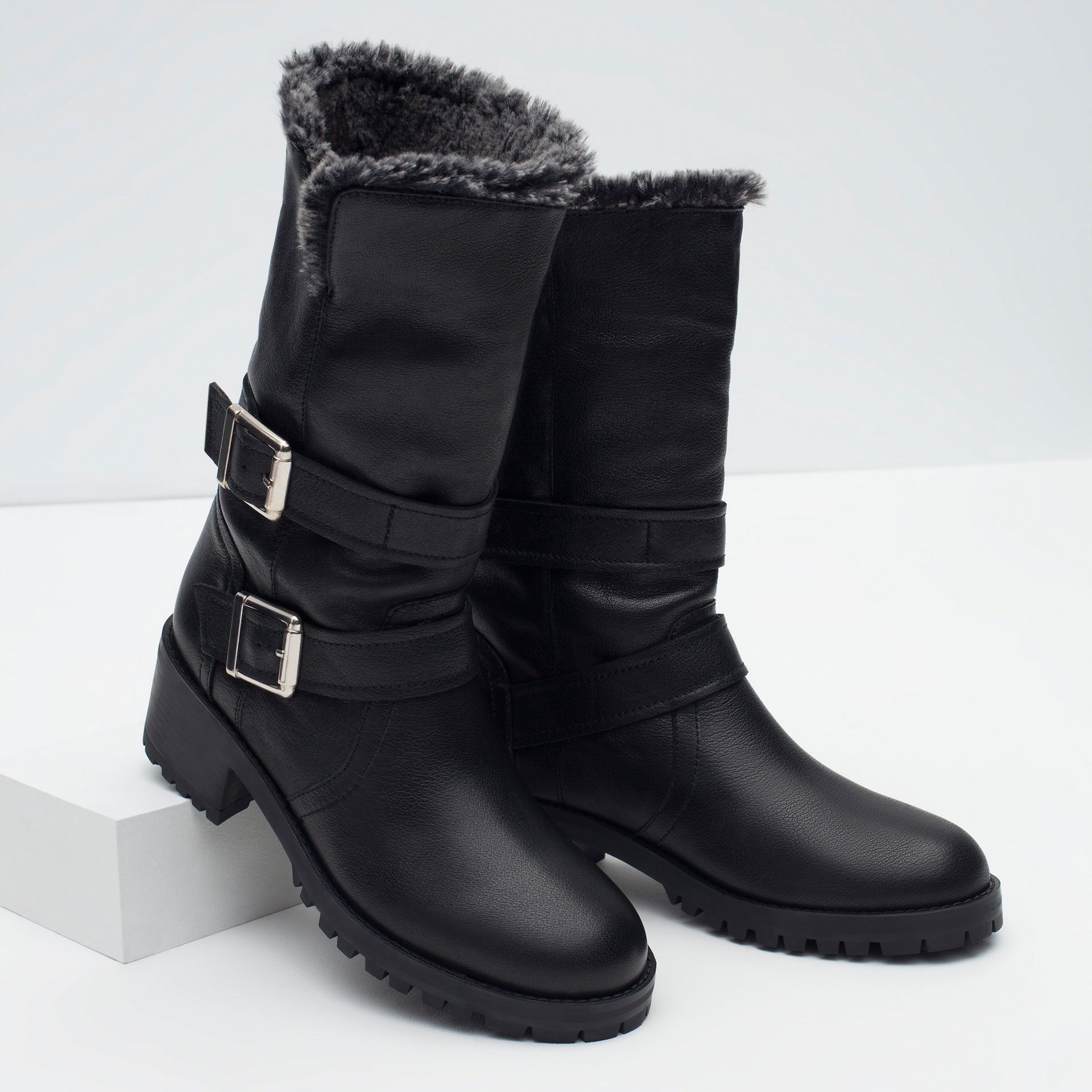 zara leather biker boots with faux fur lining in black lyst