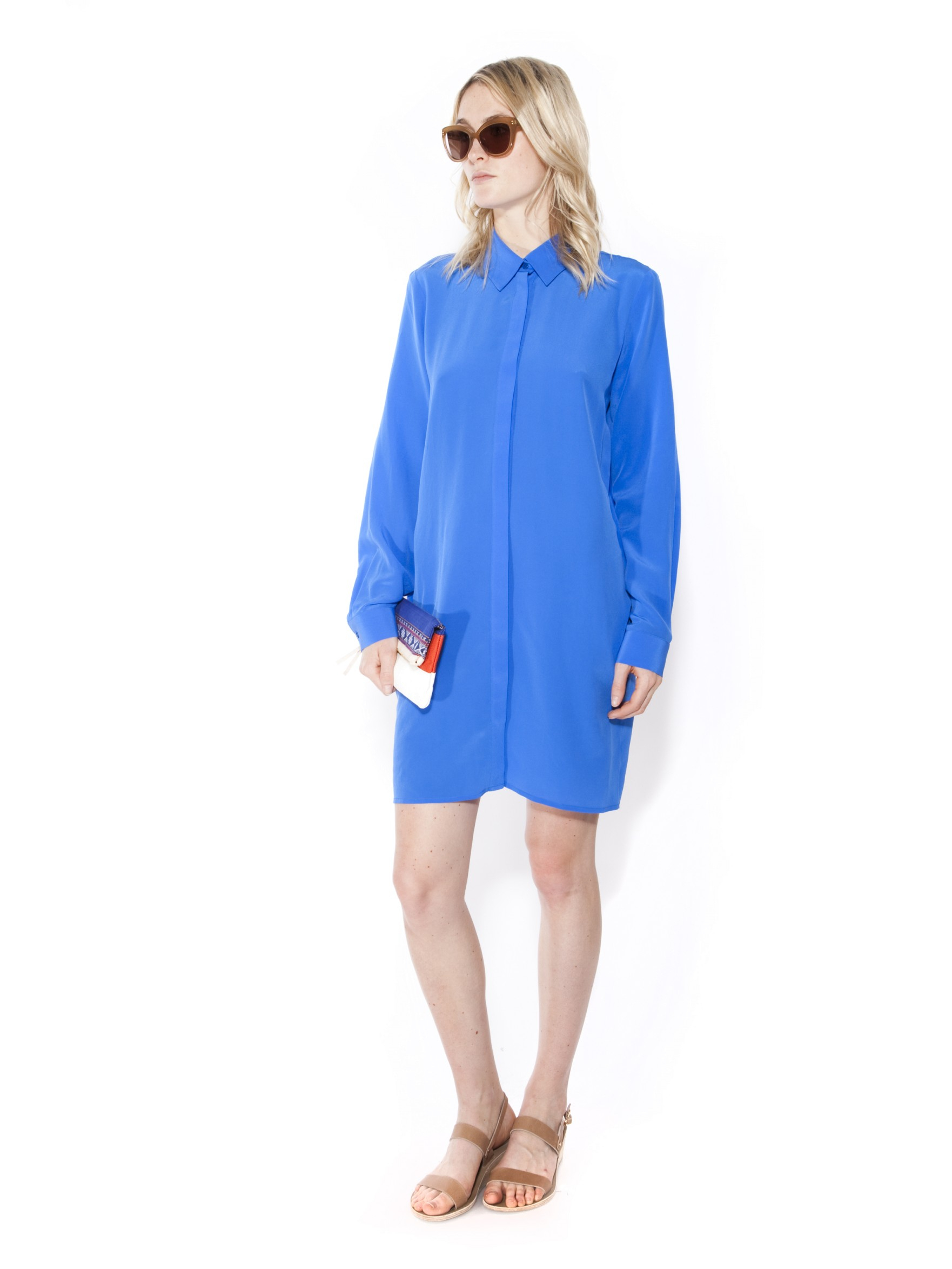 Otte new york shirt dress in blue marine lyst for New york and company dress shirts