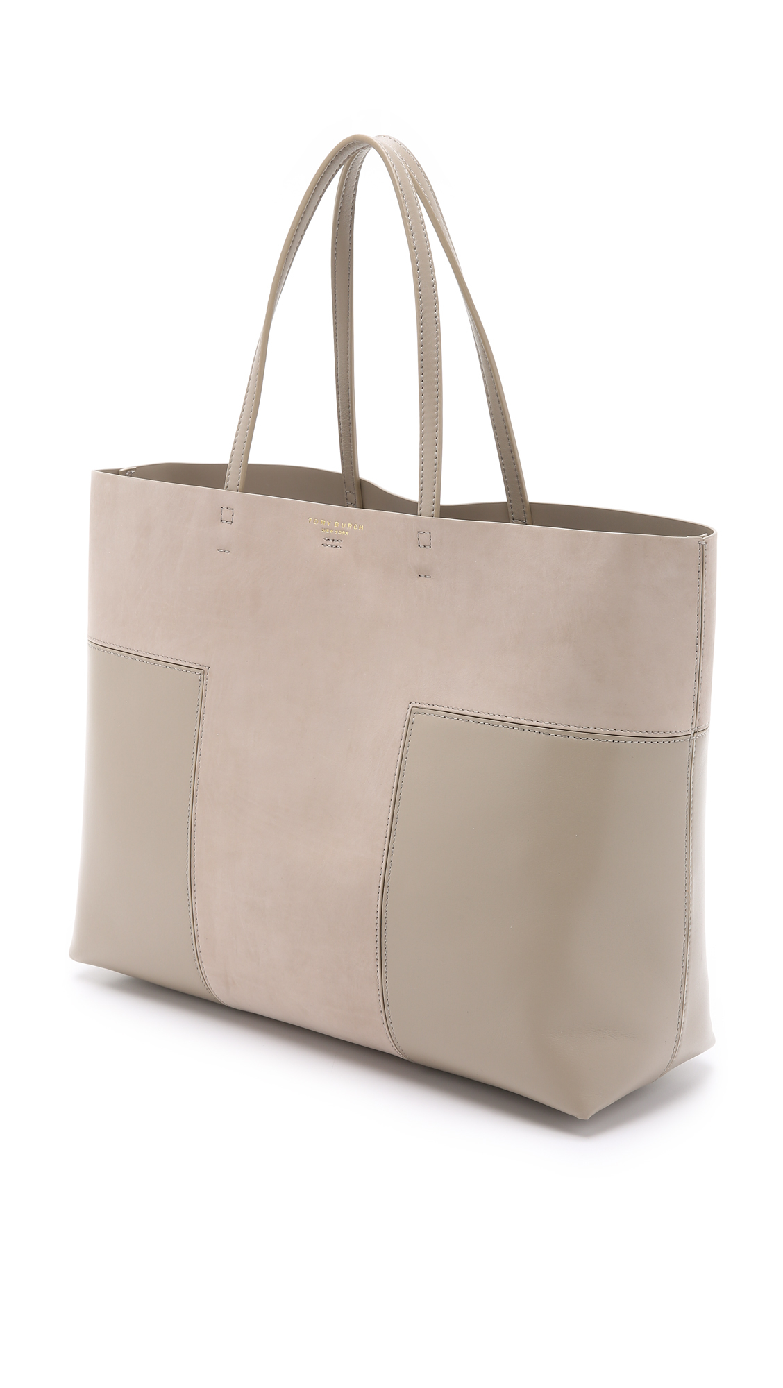 d7910b7c739d Lyst - Tory Burch Block T Large Tote - French Gray in Gray