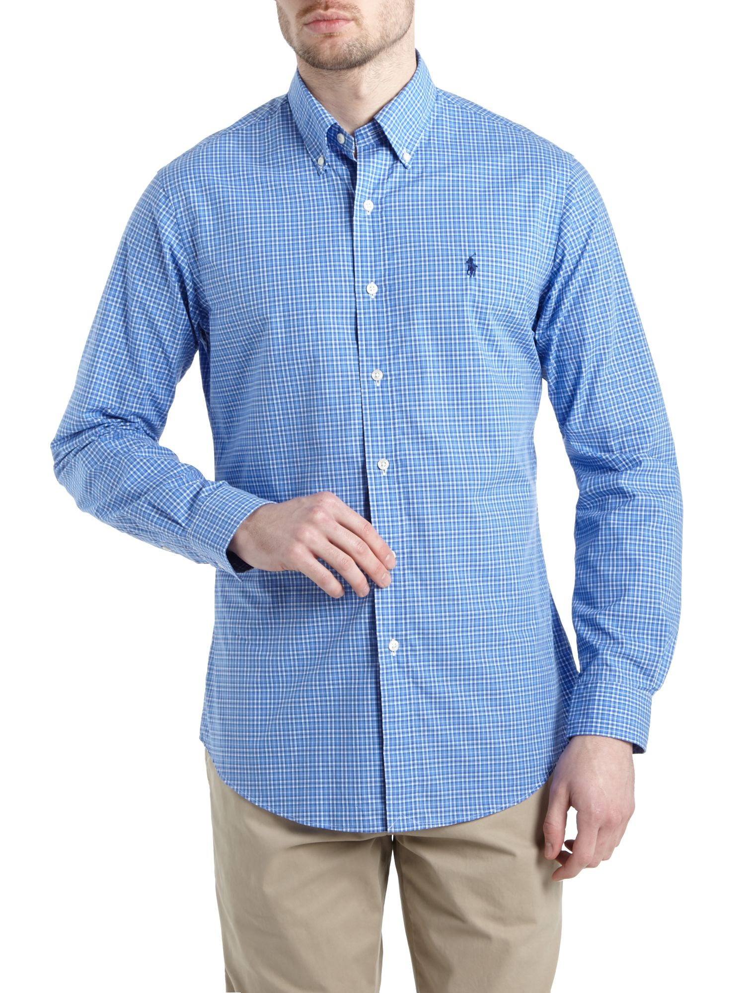 Polo ralph lauren long sleeve check poplin shirt in white for Long sleeve poplin shirt