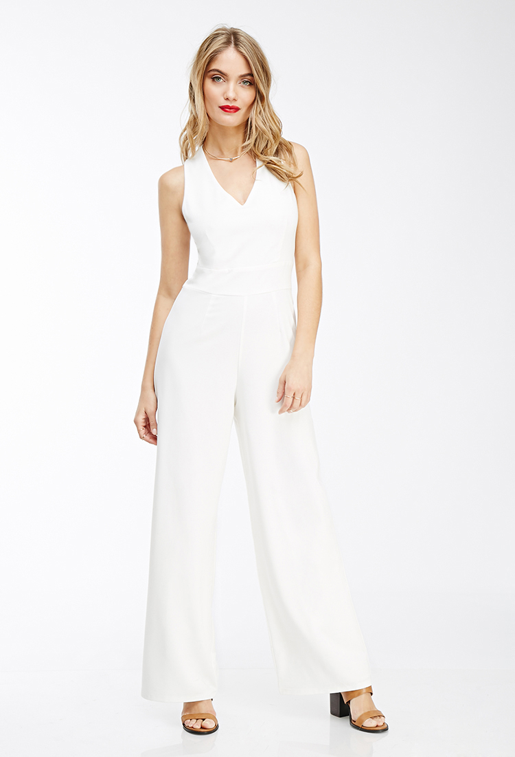 e5d0058a7c02 Lyst - Forever 21 Contemporary Crisscross-back Jumpsuit in White