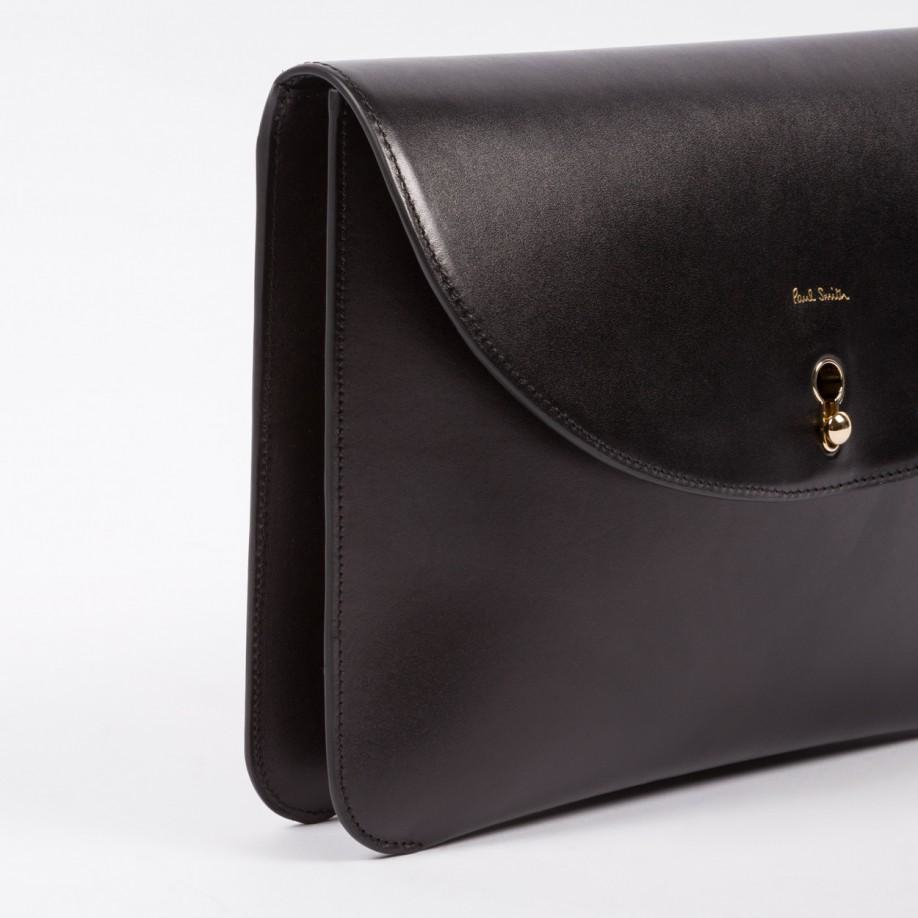 Paul Smith Women s Handcrafted Black Leather Keyhole Clutch Bag in ... 89fb55fcee