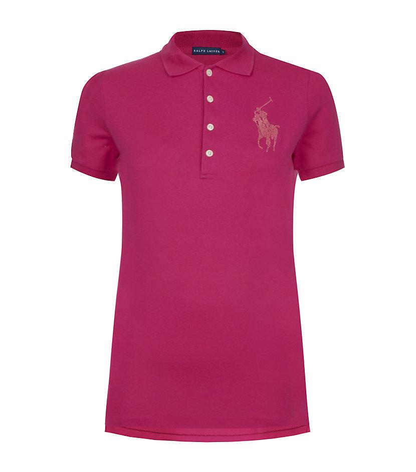 Ralph lauren blue label crystal big pony polo shirt in for Black ralph lauren shirt purple horse