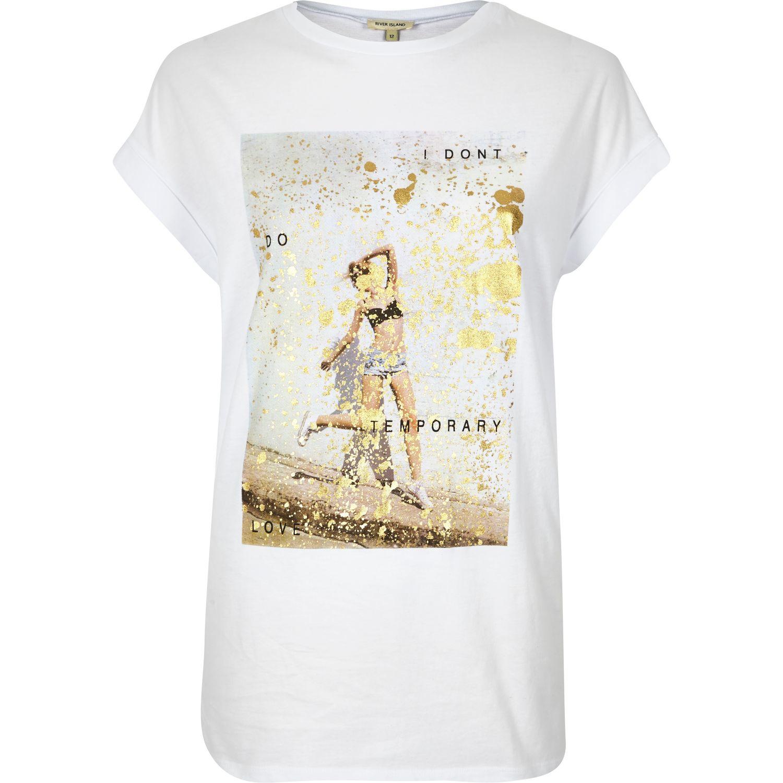da90625b0cf6b River Island White Gold Slogan Print Oversized T-shirt in White - Lyst