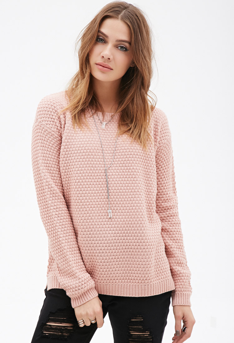 Forever 21 Popcorn-knit Sweater in Pink | Lyst