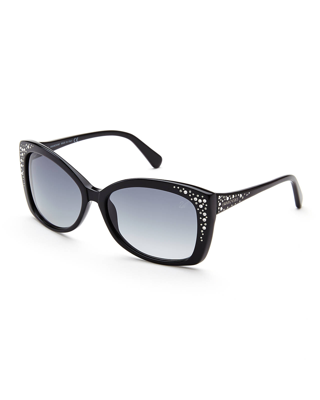 lyst swarovski sw19 black xl cat eye sunglasses in black