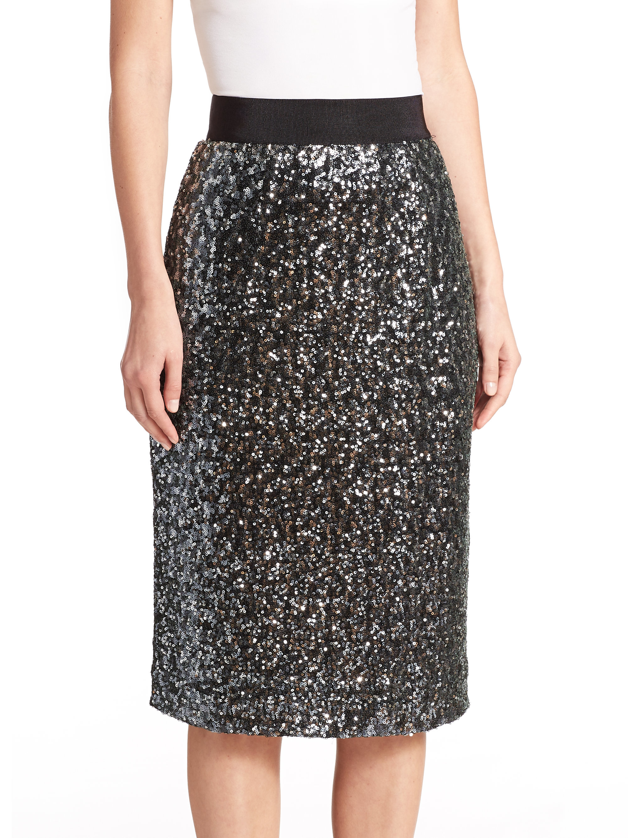 Milly Stretch Sequin Midi Skirt in Black | Lyst