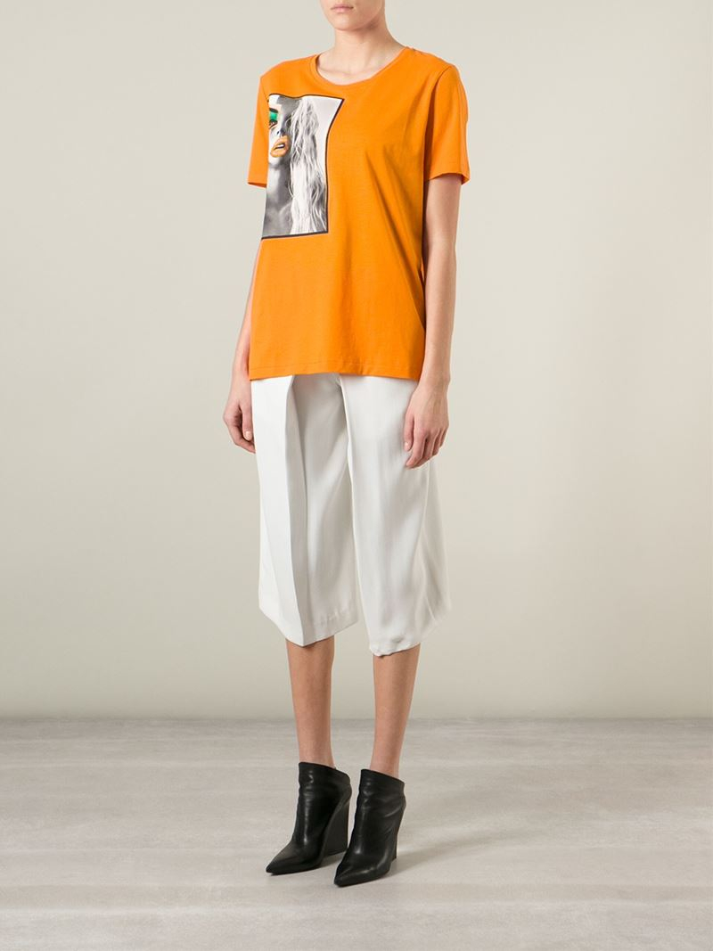 Lyst acne studios 39 vista 39 portrait print t shirt in orange for Vista t shirt printing